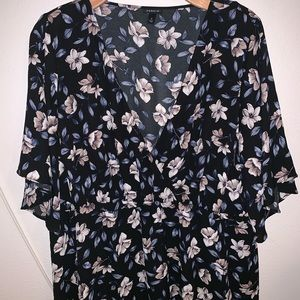 Plus Size Empire Waist Floral Blouse